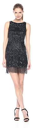 Aidan Mattox Women's Sleeveless Beaded Dress With Fringe