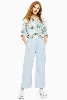 Topshop Womens Bleach Wash Elastic Waist Crop Jeans - Bleach Stone