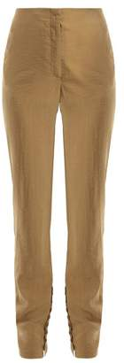 Lemaire Silk Blend Buttoned Cuff Trousers - Womens - Tan