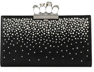 Alexander McQueen Four-Ring Knuckle Crystal-Studded Leather Clutch Bag