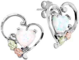 LANDSTROM'S BLACK HILLS GOLD Black Hills Gold Landstroms Lab Created White Opal Sterling Silver Heart Stud Earrings