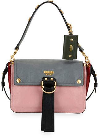 Moschino Moschino Colorblock Flap Shoulder Bag, Pink/Gray
