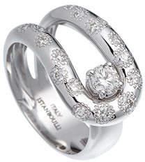 anima ISTANBOULLI GIOIELLI 18k White Gold Looped Diamond Ring, Size 7