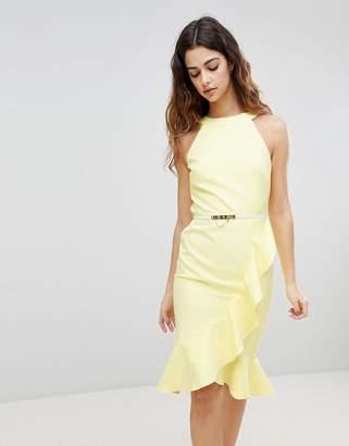 Paper Dolls Sleeveless Ruffle Detail Dress With Belt