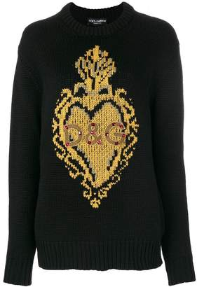 Dolce & Gabbana knit intarsia heart jumper