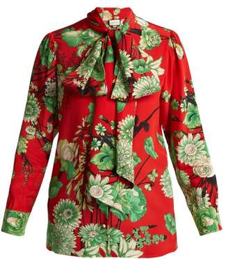 Gucci - Botanic Print Silk Blouse - Womens - Red Multi
