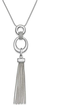 "Charter Club 32"" Silver-Tone Circle Tassel Pendant Necklace, Created for Macy's"
