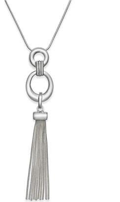 "Charter Club 32"" Silver-Tone Circle Tassel Pendant Necklace"