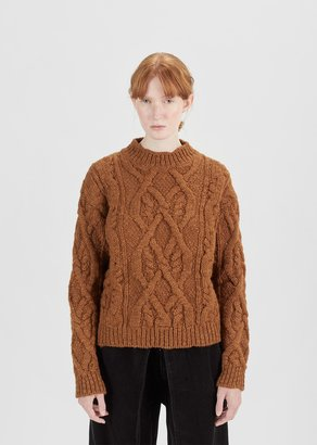 Acne Studios Edyta Cable Mock Neck Sweater Cognac Brown Size: X-Small