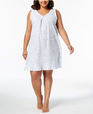 Miss Elaine Plus Size Lace-Trim Rose-Print Woven Nightgown