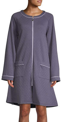 Eileen West Cotton-Blend Zip-Up Robe