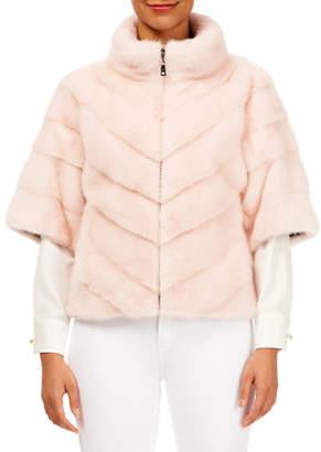 Gorski Chevron Mink-Fur Short-Sleeve Jacket