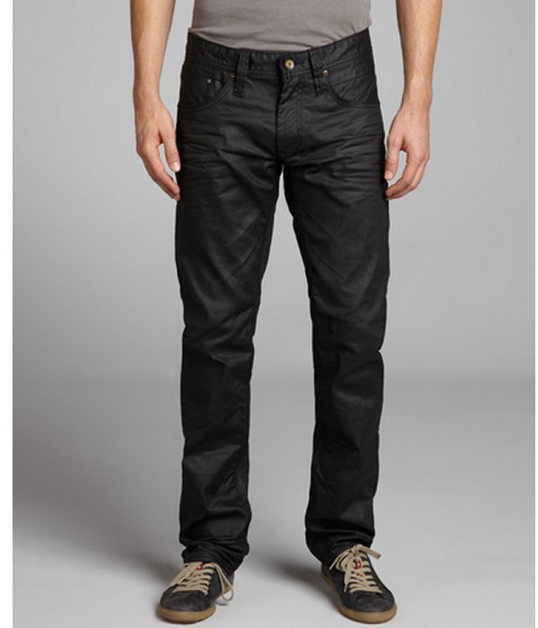 ProjekRaw Projek Raw black wax coated stretch denim slim fit jeans