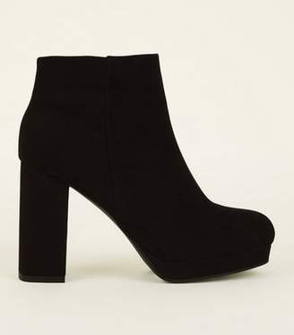 3078b6d9816 New Look Wide Fit Black Square Toe Platform Ankle Boots
