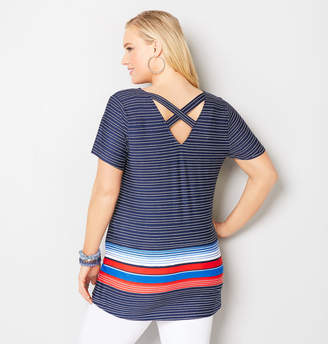 Avenue Striped Criss Cross Swing Tunic