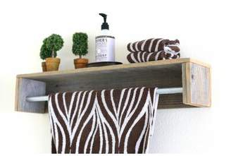 Gracie Oaks Mertens Simple Towel Bar Floating Shelf Gracie Oaks