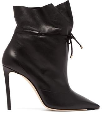 8d29c7dccab Jimmy Choo Stitch 100 Drawstring Leather Ankle Boots - Womens - Black