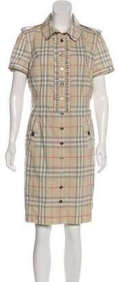 Burberry Ruffled Nova Check Dress