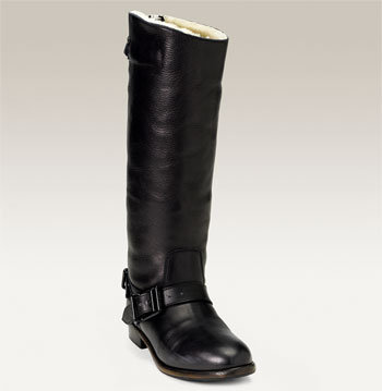 Burberry Genuine Shearling Lined Slouchy Riding Boot