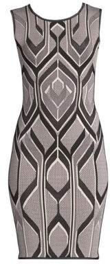 Herve Leger Geometric Jacquard Sheath Dress