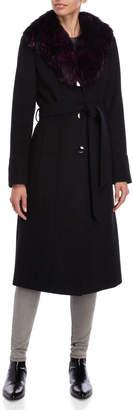 MICHAEL Michael Kors Real Fur Collar Belted Long Coat