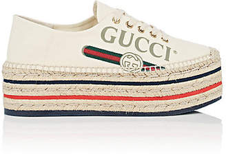 Gucci Women's Canvas Platform Espadrille Sneakers - White