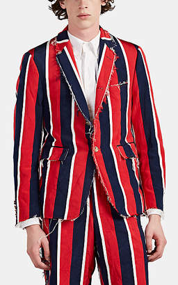 Thom Browne Men's Raw-Edge Striped Silk-Cotton Three-Button Sportcoat - Red
