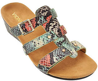 Vionic Orthotic Adj. Triple Strap Slide Wedges- Radia
