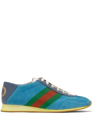 Gucci Rocket Suede Low Top Trainers - Womens - Blue fe9c80962