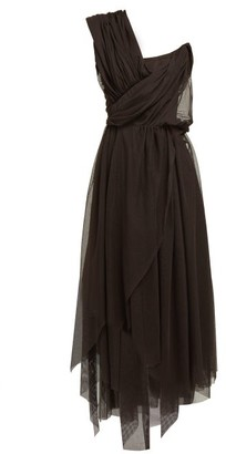 Vivienne Westwood Storm In A Teacup Gathered Cotton Tulle Dress - Womens - Black Multi