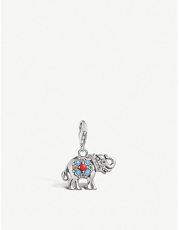Decorative elephant sterling silver charm