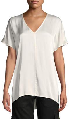 XCVI Milani Dual Satin V-Neck T-Shirt Top, Plus Size
