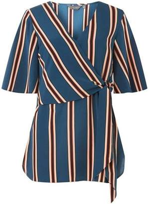 Dorothy Perkins Womens **Tall Teal Multi Striped Wrap Top