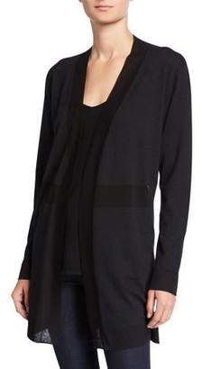 Neiman Marcus Superfine Cashmere Open-Front Cardigan with Sheer Panels