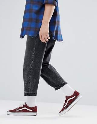 Asos DESIGN Skater Jeans In Vintage Acid Washed Black