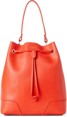 Furla Arancio Orange Stacy Medium Drawstring Bucket Bag