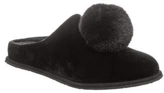 BearPaw Tango Faux Fur Pompom Genuine Sheepskin Footbed Slipper