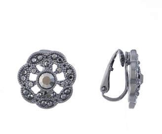 Liz Claiborne Gray Round Clip On Earrings