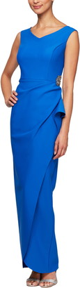 Alex Evenings Faux Wrap Column Gown