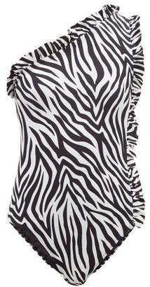 Leslie Amon - Tami Ruffled Zebra Print One Shoulder Swimsuit - Womens - Black White