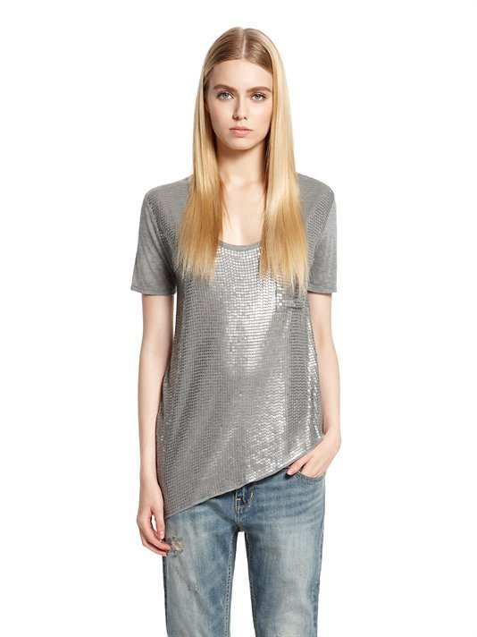 DKNY Asymmetrical Scoopneck Tee with Sequin Front