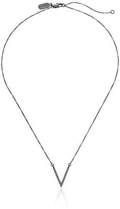 """Lisa Freede Jewelry -Plated Micro Pave Small V Pendant Necklace 18"""" + 2"""" Extender"""
