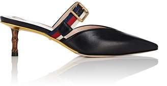 Gucci Women's Buckle-Strap Leather Mules