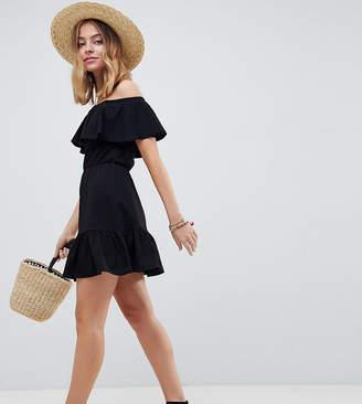 Asos DESIGN Petite off shoulder sundress with tiered skirt