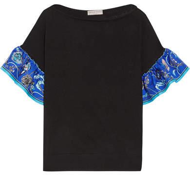 Emilio Pucci - Silk Twill-trimmed Wool Top - Black