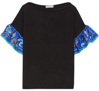 Emilio Pucci - Silk Twill-trimmed Wool Top - Black $750 thestylecure.com