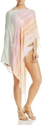 Echo Texture Stripe Poncho Swim Cover-Up