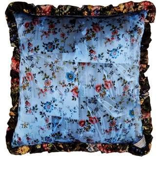 Preen by Thornton Bregazzi Tapestry And Floral Print Silk Cushion - Womens - Blue Multi