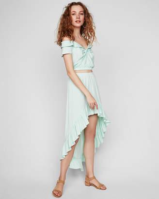 Express High Waisted Asymmetrical Hem Ruffle Maxi Skirt