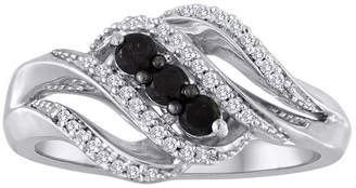 Black Diamond MODERN BRIDE Midnight 1/3 CT. T.W. White and Color-Enhanced 3-Stone Crossover Ring